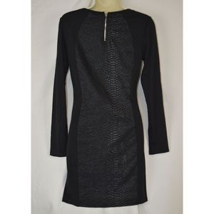 Divided Dresses - Divided Snake Skin Accented L/S Sheath Dress 10